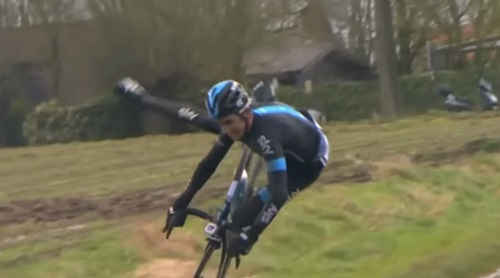 Geraint Thomas decking it (still taken from YouTube video)