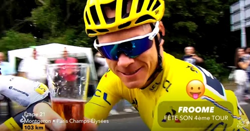 Boozy Froome (via YouTube)
